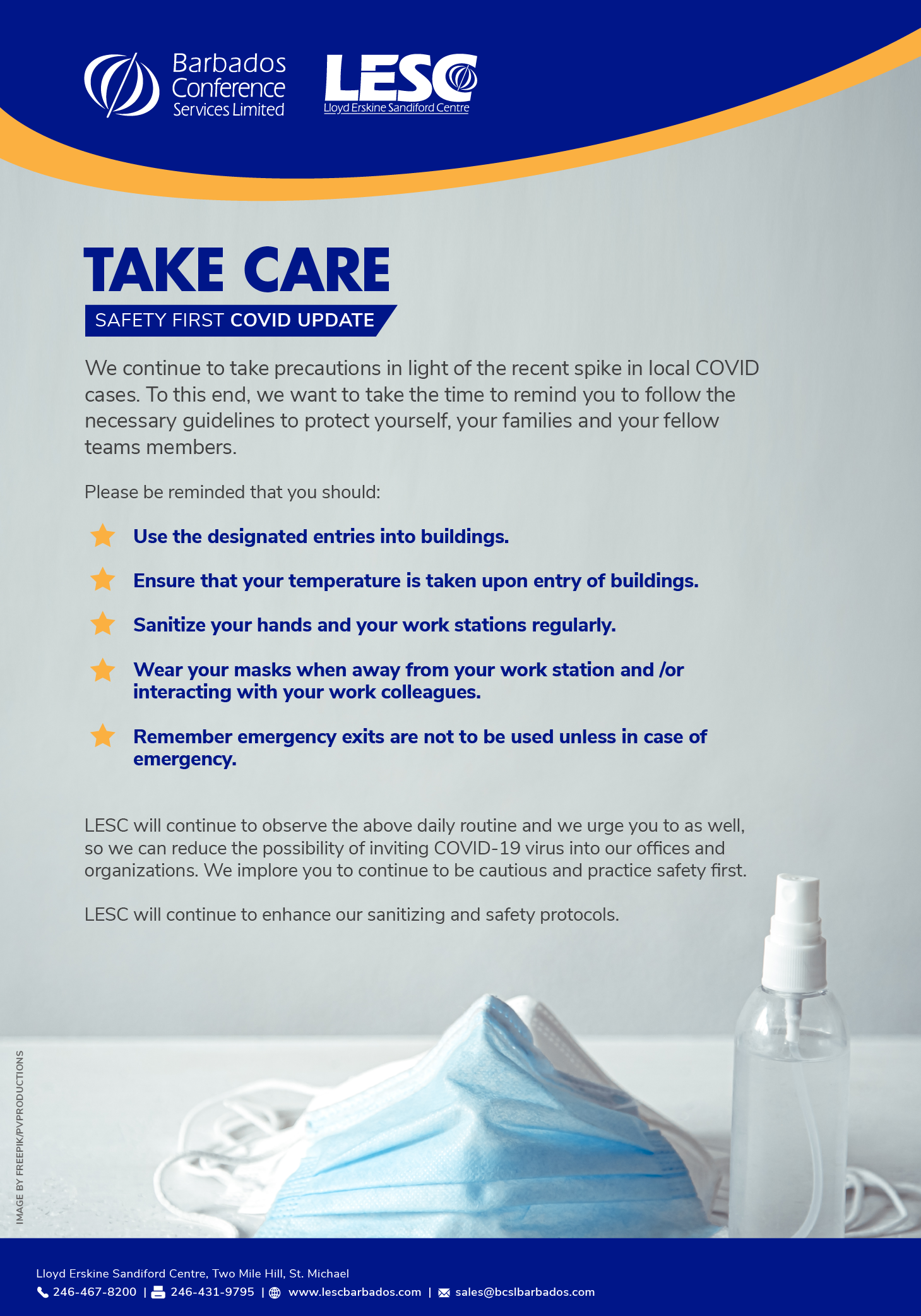 TAKE CARE - Safety First COVID Update
